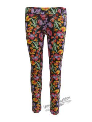 Colanţi damă cu imprimeu flori multicolore cu 2 buzunare la spate
