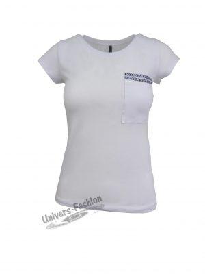Tricou damă - alb cu un buzunar pe piept