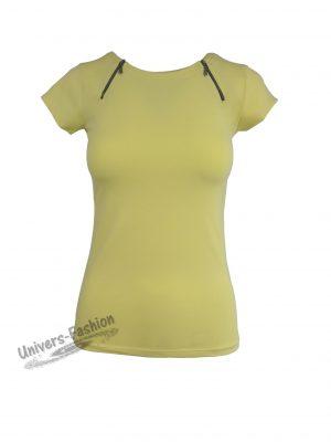 Tricou damă - galben cu 2 fermoare în faţa