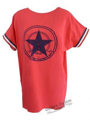 Bluză damă - rosu cu stea pe piept și bandă tricolor la manecă
