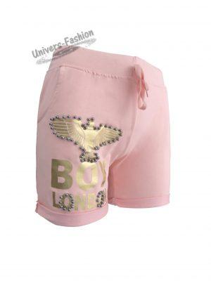 """Pantaloni scurţi damă - roz cu imprimeu vultur """"BOY LONDON"""" și perle argintii"""