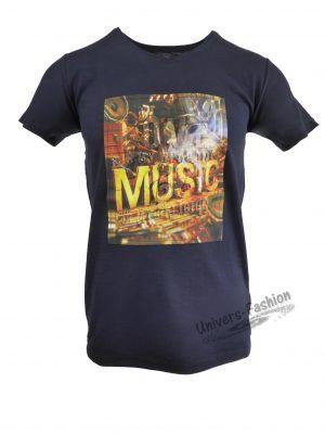 "Tricou bărbat - albastru cu efect 3D ""Love is my weapon Music is my religion"""