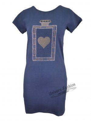 Rochie culoare albastru cu inimă în faţă