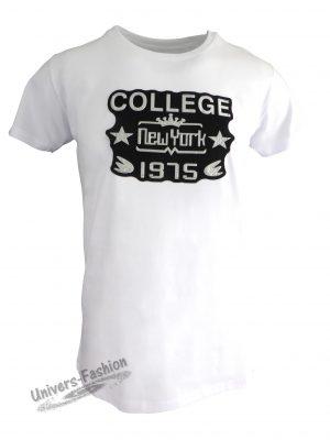"""Tricou bărbat - alb cu efect 3D """"College New York 1975"""""""