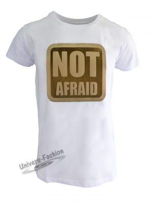 "Tricou bărbat - alb cu efect 3D ""NOT AFRAID"""