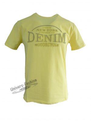 """Tricou bărbat - galben cu logo 3D """"DENIM"""""""