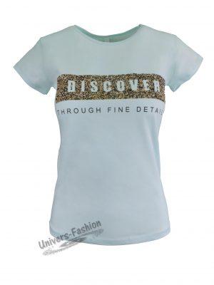 """Tricou damă - albastru, imprimeu """"Discover through fine details"""""""