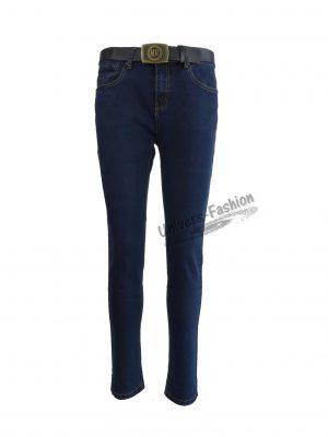 Jeans damă - albastru cu 5 buzunare și curea