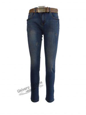 Jeans damă - albastru cu 5 buzunare și curea - zgâriaţi  in faţă și pe buzunarele din spate