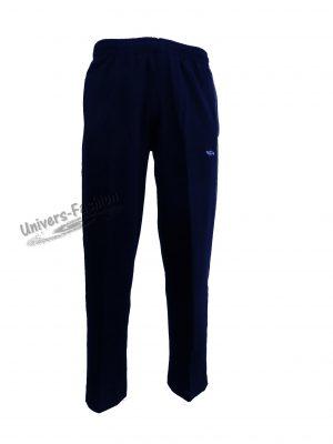 Pantaloni trening bărbat - albastru cu 2 buzunare laterale cu fermoare și un buzunar la spate cu fermoar