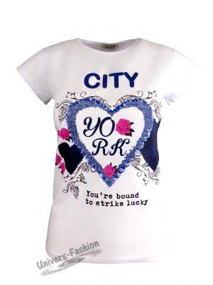 "Tricou damă - alb, imprimeu inimă cu trandafiri ""City York"""