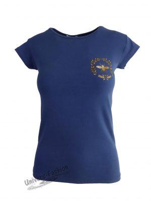 """Tricou damă - albastru cu logo """"albină"""" pe piept"""