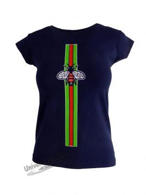 Tricou damă - albastru, imprimeu albină cu ștras