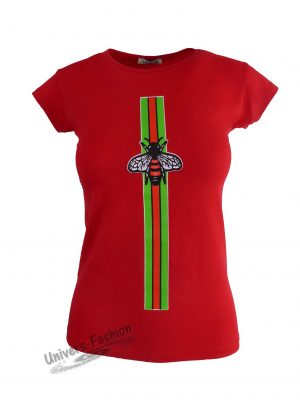 Tricou damă - roșu, imprimeu albină cu ștras