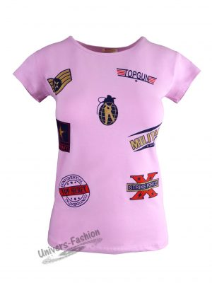 "Tricou damă - roz, imprimeu ""TOP GUN US ARMY"""