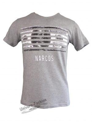 """Tricou bărbat - gri, imprimeu cu dollar """"NARCOS"""""""