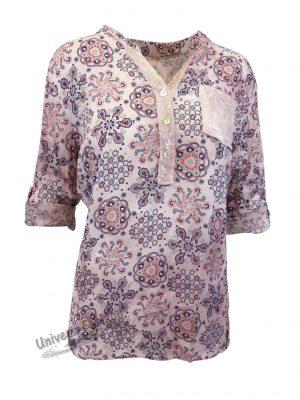 Bluză damă - roz cu imprimeu etnic multicolor