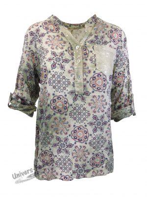Bluză damă - verde cu imprimeu etnic multicolor