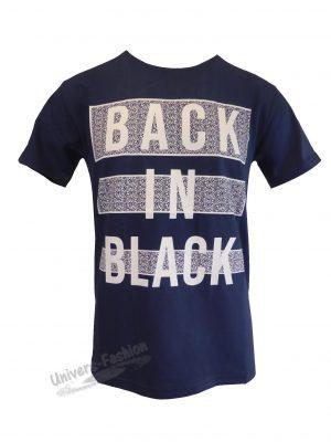 """Tricou bărbat - albastru cu logo """"BACK IN BLACK"""""""