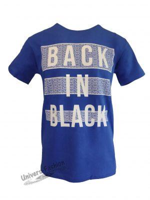 """Tricou bărbat - albastru deschis cu logo """"BACK IN BLACK"""""""
