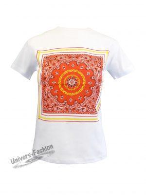 Tricou damă - alb - imprimeu etnic multicolor