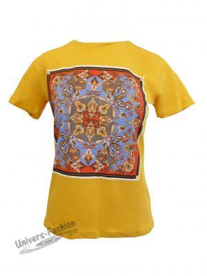 Tricou damă - galben mustar - imprimeu etnic multicolor