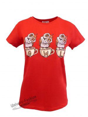 Tricou damă - rosu - imprimeu 3 bufniţe cu ștras