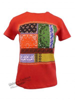 Tricou damă - rosu - imprimeu etnic multicolor