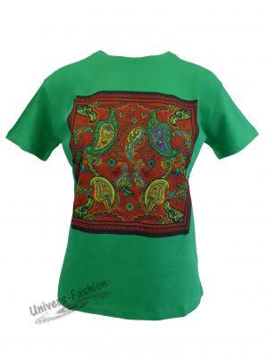 Tricou damă - verde - imprimeu etnic multicolor