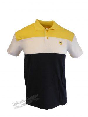 Tricou polo bărbat - tricolor galben, alb, negru