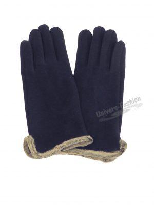 Manusi dama din material textil cu aplicatie de blana sintetica la margine, cu functie pentru Touchscreen Telefon, albastru