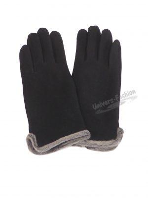Manusi dama din material textil cu aplicatie de blana sintetica la margine, cu functie pentru Touchscreen Telefon, negru