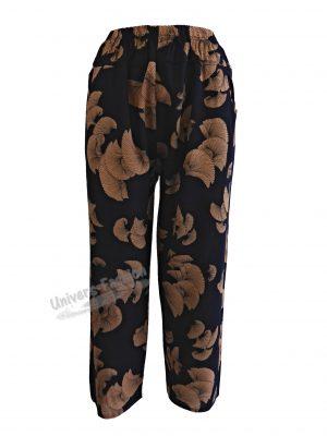 Pantaloni de vară cu 2 buzunare, albastru cu imprimeu maro, elastic la talie