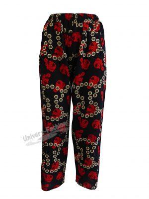 Pantaloni de vară cu 2 buzunare, albastru cu imprimeu rosu si bej, elastic la talie