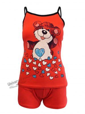 Pijama dama, corai, maiou cu imprimeu ursulet si inimi, pantaloni scurti albastru cu 2 buzunare