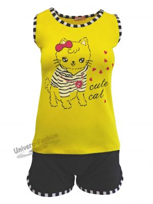 """Pijama dama, maiou galben cu imprimeu """"cute cat"""", pantaloni scurti albastru cu 2 buzunare"""