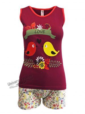 """Pijama dama, maiou grena cu imprimeu 'Love"""", pantaloni scurti cu imprimeu multicolor flori"""