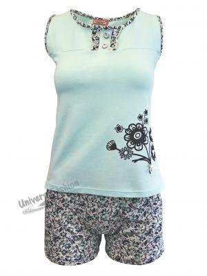 Pijama dama, maiou turcoaz cu imprimeu flori, pantaloni scurti albi cu imprimeu flori albastre cu 2 buzunare