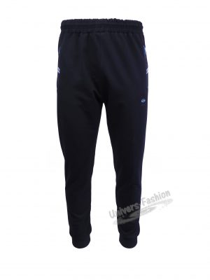 Pantaloni trening barbat, albastru cu 2 buzunare laterale cu fermoare și un buzunar la spate cu fermoar