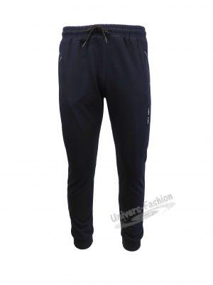 Pantaloni trening barbat, albastru cu 3 buzunare laterale cu fermoare