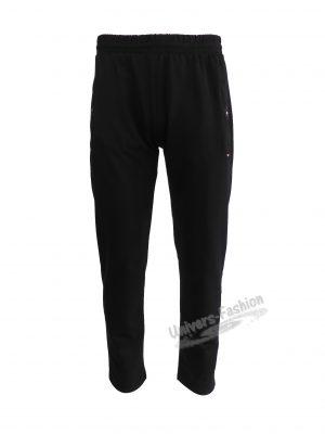 Pantaloni trening barbat, negru cu 2 buzunare laterale cu fermoare și un buzunar la spate cu fermoar