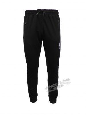 Pantaloni trening barbat, negru cu 3 buzunare laterale cu fermoare