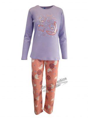 Pijama dama, bluza mov cu imprimeu pisici, pantaloni corai cu imprimeu semiluna