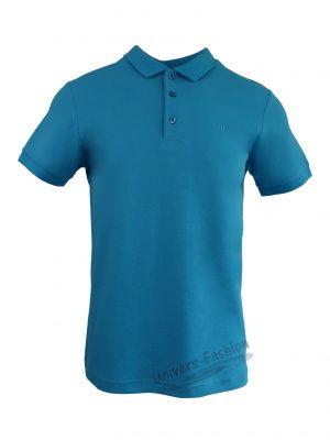 Tricou polo bărbat, regular fit, cu broderie logo discreta, albastru deschis