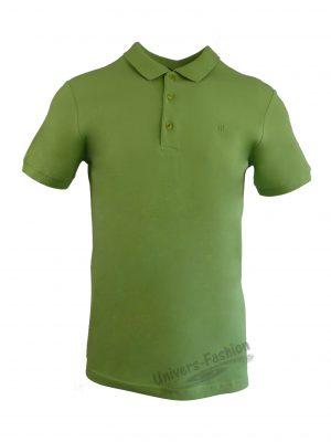 Tricou polo bărbat, regular fit, cu broderie logo discreta, verde fistic