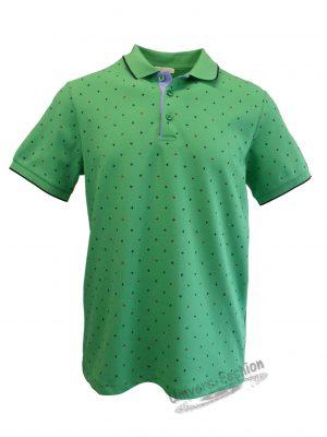 Tricou polo bărbat, regular fit, verde cu imprimeu frunze de artar