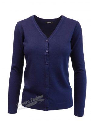 Cardigan tricotat fin , inchidere cu 7 nasturi, albastru