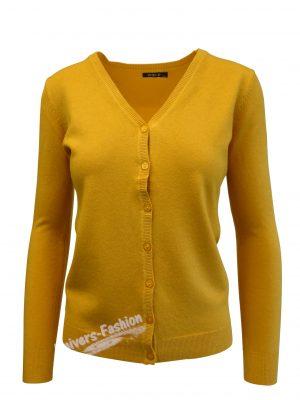 Cardigan tricotat fin , inchidere cu 7 nasturi, galben mustar