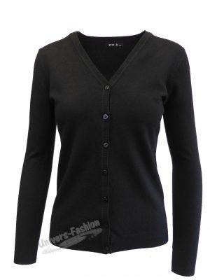 Cardigan tricotat fin, inchidere cu 7 nasturi, negru