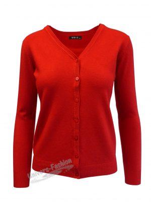 Cardigan tricotat fin , inchidere cu 7 nasturi, rosu